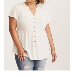 Torrid Lace Insert Button Front Empire Top